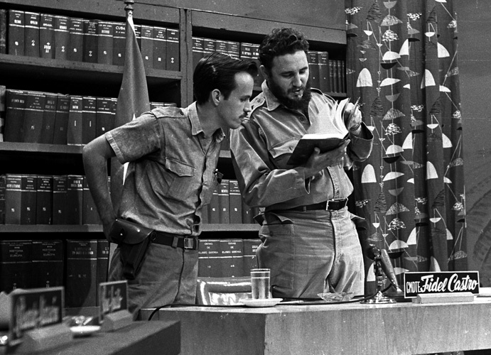 Ricardo Alarcón and Fidel Castro Ruz, Popular University Program, circa 1960- Photo: Liborio Noval.